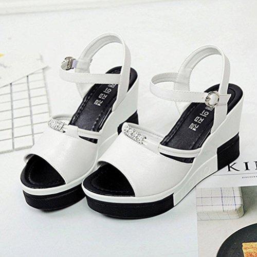 Webla Sandalias de verano de las mujeres Zapatos Zapatos Peep-toe alto Zapatos romanos de la correa del tobillo Flip Flops Blanco