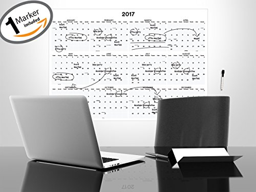 "2017 Yearly Calendar - 26"" x 37"" - Dry Erase Laminated Yearly Calendar - Annual Office Calendar - Academic College Dorm Wall Calendar - Horizontal Custom Calendar - 12 Month Calendar Dated w/ Holidays"