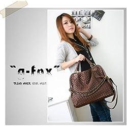 Fashion Women Pu Leather Hobo Chain Weaving Woven Bag Handbag Double Use Shoulder Bag (brown)