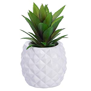 Lvydec Potted Artificial Succulent Decoration, Fake Pineapple Plant for Home Office Tabletop Decoration (White)