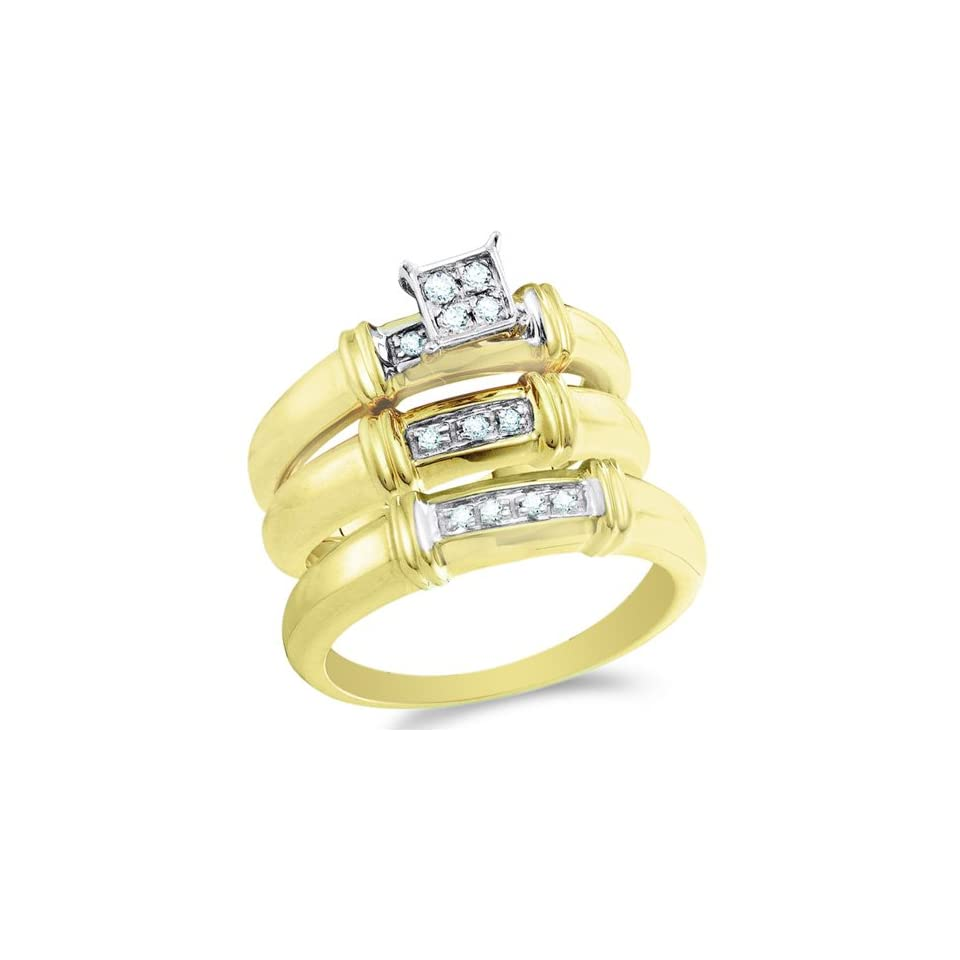 Size 6   10K Two Tone Gold Diamond Mens and Ladies His & Hers Trio 3 Three Ring Bridal Matching Engagement Wedding Ring Band Set   Square Princess Shape Center Setting w/ Pave Set Round Diamonds   (1/6 cttw)   SEE PRODUCT DESCRIPTION TO CHOOSE BOTH SIZES