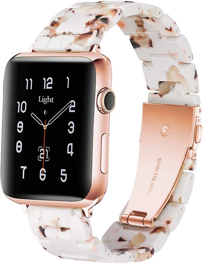 Light Apple Watch Band - Fashion Resin iWatch Band Bracelet Compatible with Copper Stainless Steel Buckle for Apple Watch Series SE Series 6 Series 5 Series 4 Series 3 Series 2 Series1 (Nougat White, 42mm/44mm)
