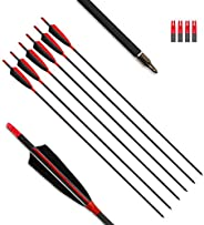 """MS JUMPPER Archery Carbon Arrows 400 Spine with 4"""" Real Feather Fletching 100 Grain Points for Compound R"""