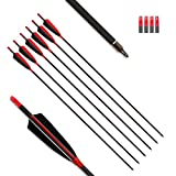"""MS JUMPPER Archery Carbon Arrows 400 Spine with 4"""" Real Feather Fletching 100 Grain Points for Compound Recurve Longbow (12 Pack) (28 Inch Arrows)"""