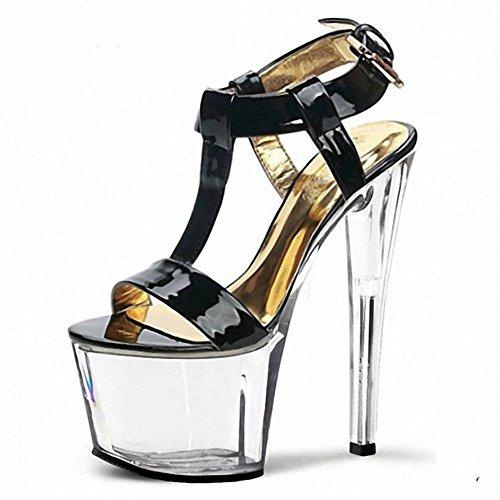 SYYAN Damen Frühlings Sommer Leder wasserdicht goldene Farben-Gürtelschnalle Superkristallstöckel Sandalen , black , 42
