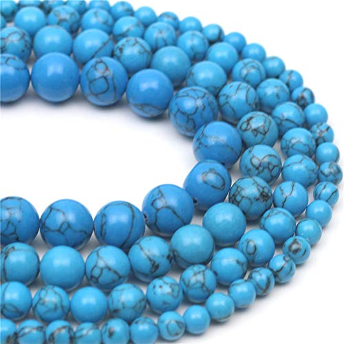 """Oameusa 12mm Synthesis Black Line Turquoise Beads Round Beads Gemstone Beads Loose Beads Agate Beads for Jewelry Making 15"""" 1 Strand per Bag-Wholesale"""