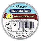 Beadalon 49-Strand Bead Stringing Wire, 0.024-Inch, Bright, 30-Feet