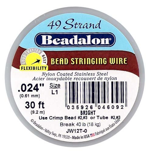 Beadalon 49-Strand Bead Stringing Wire, 0.024-Inch, Bright, 30-Feet