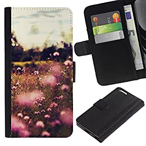 KLONGSHOP // Tirón de la caja Cartera de cuero con ranuras para tarjetas - Summer Flowers Campo Sun Rosa Amarillo - Apple Iphone 6 PLUS 5.5 //