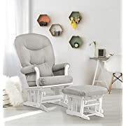 Dutailier Sleigh Glider and Ottoman Set, White/Light Grey