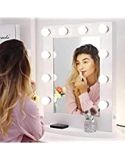 Chende Hollywood Vanity Mirror with Lights, 25.6'' x 19.7'' Large Makeup Mirror with Outlet and Dimmer, Gloss White LED Mirror for Table or Wall , Included 12 Replaceable LED Bulbs