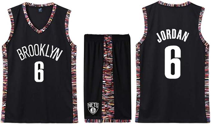 Deandre Jordan Brooklyn Nets Nº 6 - Camiseta de Baloncesto para Aficionados (Absorbente del Sudor, Transpirable y fácil de Limpiar), 123, 123, Color marrón, tamaño XXXXX-Large: Amazon.es: Deportes y aire libre