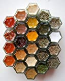 EVERYTHING HEX: Organic Spice Kit for your Fridge. Includes 24 Magnetic Jars FILLED with Everyday Spices. Unique Gift Idea. Home Supply Maintenance Store