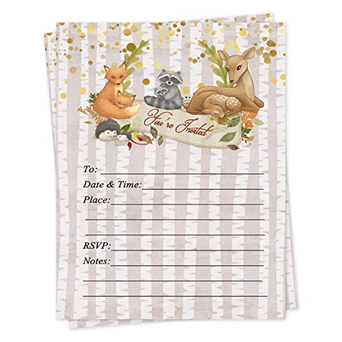 Woodland Baby Shower Birthday Thanksgiving Fall Invitations 20 Count with Envelopes
