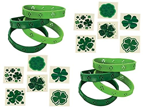 HAPPY DEALS ~ 72 pc Shamrock Bracelets and 72 Shamrock Tattoos - Bulk St. Patrick's Day Class Pack Party Favors and prizes