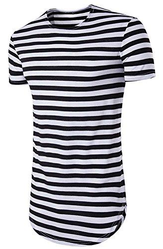 SLRJ Men's Hipster Curved Hem Short Sleeve Striped T Shirt (Striped Hipster)