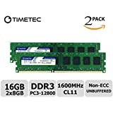 Timetec Hynix IC 16 GB キット (2x8GB) デスクトップPC用メモリ DDR3L 1600 MHz PC3L 12800 永久保証 (16 GB キット (2x8GB))