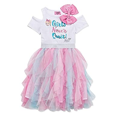 5f040a7da37614 Amazon.com  Girls JoJo Siwa Embellished Bow Fancy Tulle Tutu Dress ...