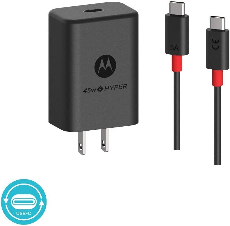 Motorola TurboPower 45W USB-C Charger with 5 Amp USB-C to USB-C Data/Charging Cable for Motorola One Hyper, USB-C Laptops, Other High Powered Type C Devices