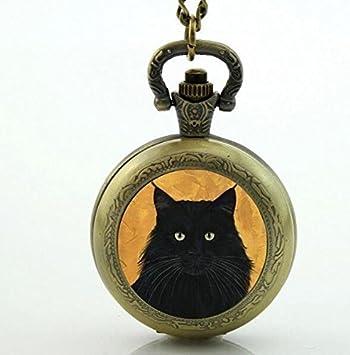 Reloj de bolsillo para gatos, collar de reloj de gato, reloj de bolsillo de cuarzo para gatos, bonito regalo para amantes de los gatos, color negro: ...
