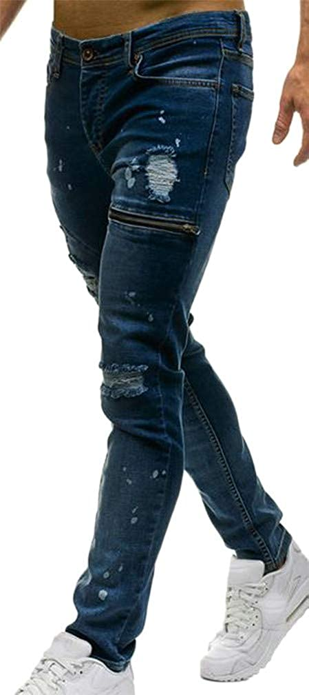 Cromoncent Mens Faded Destroyed Casual Pocket Ripstop Zipper Denim Pants
