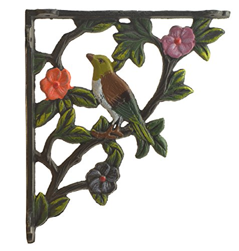 (Import Wholesales Decorative Cast Iron Wall Shelf Bracket Bird On Branch Color 7.625