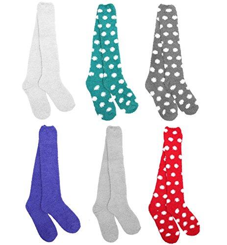 Fuzzy Socks Dot (Super Soft Warm Microfiber Fuzzy Knee High Dot Socks - Assortment 98-6 Pairs)