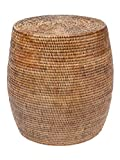 "rattan end tables Kouboo La Jolla Round Handwoven Rattan Stool/Side Table, 18"" by 18"", Honey-Brown"
