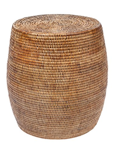 "Kouboo La Jolla Round Handwoven Rattan Stool/Side Table, 18"" by 18"", Honey-Brown"