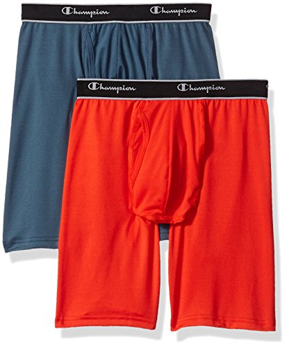 Champion Men's 2-Pack Tech Performance Longer Leg Boxer Brief, Grey/Sun Kissed Large