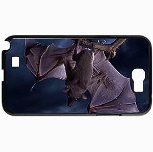Personalized Protective Hardshell Back Hardcover For Samsung Note 2, Bat Hanging Design Night Design In Black Case Color