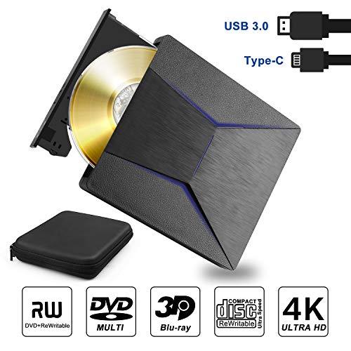 Yomera External Blu ray DVD Drive 3D 4K, Slim Bluray USB 3.0 & Type-C CD DVD Drive Writer Reader Disk Compatible Withe Windows XP/7/8/10,Vista, MacOS for MacBook, Laptop, Desktop, Notebook
