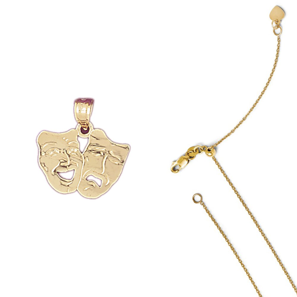14K Yellow Gold Drama Mask Laugh Now Cry Later Pendant on an Adjustable Chain Necklace