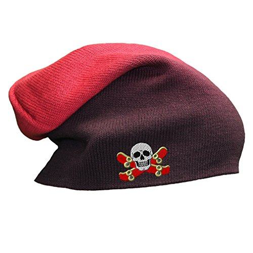 Skateboard Skull Logo Embroidery Slouch Long Beanie Skully Hat, Red
