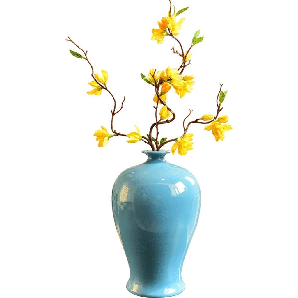 クリエイティブセラミック大型花瓶リビングルームポーチフラワーフラワーアレンジメント装飾フラワーアレンジメント LCSHAN (Color : Ceramic-Blue, Size : 33cm*14cm*5.5cm) B07T4KDC4H Ceramic-Blue 33cm*14cm*5.5cm