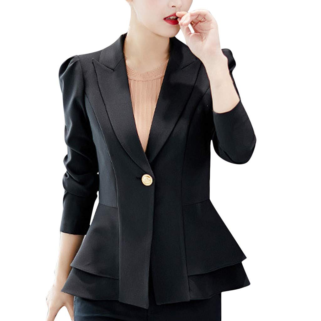 Sunsee Fashion Women Business Top Button Lapel Long Sleeve Suit Blouse Loose Coat New Halloween Christmas Coat