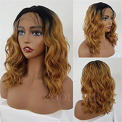 COOLGIRL Natural Wave Soft Bob Wigs Ombre Synthetic Lace Front Wig 1B/27 Heat Resistant Fiber Wigs With Baby Style For Women Black Hair Natural Hair Line Baby ()