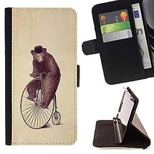 Momo Phone Case / Flip Funda de Cuero Case Cover - Arte Oso Rueda Dibujo Acuarela Lápiz Sombrero - Sony Xperia Z5 5.2 Inch (Not for Z5 Premium 5.5 Inch)