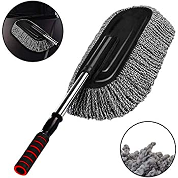 Mop Duster Kit, Purple ocharzy Microfiber Car Duster Exterior Interior Cleaner with Extendable Handle