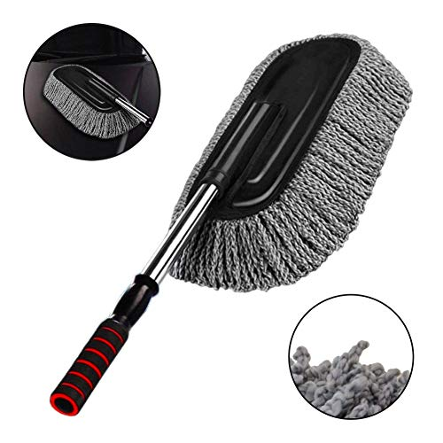 Microfiber Car Duster Exterior Interior Cleaner Cleaning Kit size 15.7 inch with Long Retractable Handle to Trap Dust and Pollen for Car Bike RV Boats or Home use - Grey ()
