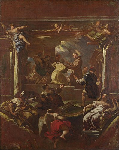 Polyster Canvas ,the Reproductions Art Decorative Prints On Canvas Of Oil Painting 'Luca Giordano Saint Anthony Of Padua Restores The Foot Of A Man ', 16 X 20 Inch / 41 X 51 Cm Is Best For Wall Art Artwork And Home Artwork And Gifts