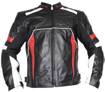 German Wear Chaqueta de piel moto chaqueta de piel de vacuno Chaqueta de Motorista, color negro/rojo/blanco: Amazon.es: Coche y moto