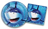 Shark Birthday Party Supplies / Plates and Napkins Bundle - 2 Items: 9 Inch Paper Plates and 6.5 Inch Napkins for 16 Guests