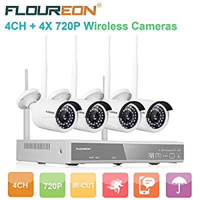 floureon House Camera 4CH DVR Home Security System 1080N AHD DVR + 4 X Outdoor 1500TVL 720P Bullet Security Servalance Cameras Night Version by FLOUREON