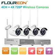 #AmazonGiveaways FLOUREON Wireless CCTV Security House Camera System 4CH NVR Kits 1080P + 4 Pack 720P 1.0MP HD Wireless IP Network WiFi Camera Night Vision Remote Access Motion Detection(4CH+ 4X 720P Camera)