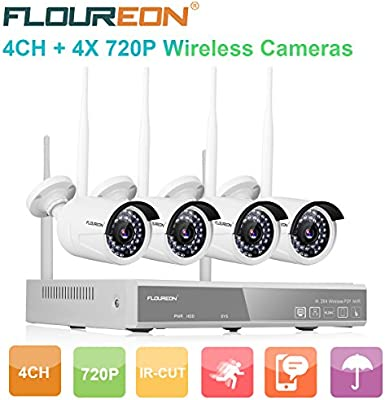 FLOUREON Wireless CCTV Security House Camera System 4CH NVR
