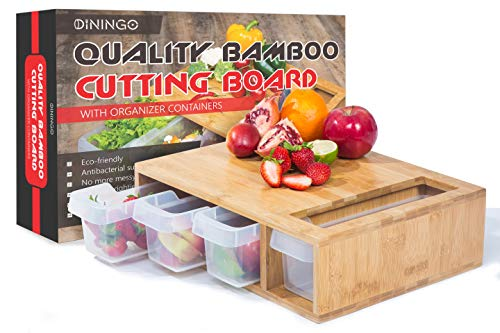 Bamboo Cutting Board with Trays - Kitchen Cutting Boards - Large Wooden Chopping Block with 4 Storage Containers for Easy Storage Salads, Vegetables, Fruits, and Meat