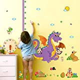 Height Measurement Dinosaurs Animals Plant Wall Sticker Decal Home Decor PVC Murals Wallpaper House Art Picture Living Room Adult Senior Teen Kids Baby Bedroom Decoration