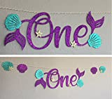 One Banner, high chair table, Little Mermaid Ariel, Mermaid Letters, Birthday Party Decor, gold starfish, Sea Shells, Tail Fin, First 1