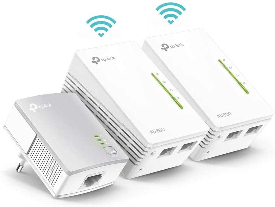 TP-Link TL-WPA4220T KIT  - Extensor Universal de Cobertura Wi-Fi AV600+AC300, 5 Puertos, Cable Ethernet (3-Pack)